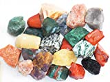 Fundamental Rockhound Products: India Mix Rough Bulk Rock for Tumbling, Metaphysical Use, Gemstones Healing Crystals * Wholesale Lot * ... Moonstone, Bloodstone, Fancy Jasper, Yellow Red Green Aventurine, Moss Agate, Many More! (2 lb)