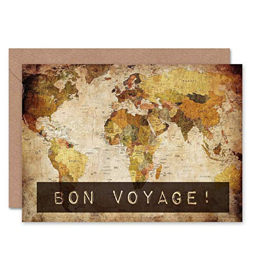 Wee Blue Coo New Bon Voyage World MAP Cartography Birthday Blank Greetings Card CL1031