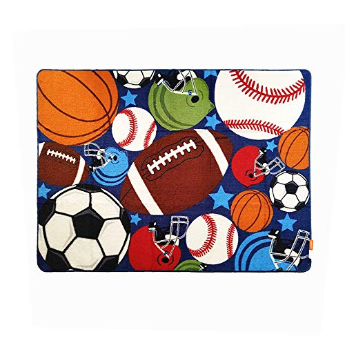 (USTIDE Blue Kids Rug Fun Sport Rugs Lets Play Blue Childrens Rug Balls Print with Soccer Ball, Basketball, Football, Tennis Ball Bedroom Playroom)
