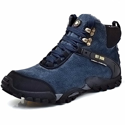 Fiery Love Men's Hiking Boots Leather Lightweight Ankle Support Outdoor Shoes Blue Black