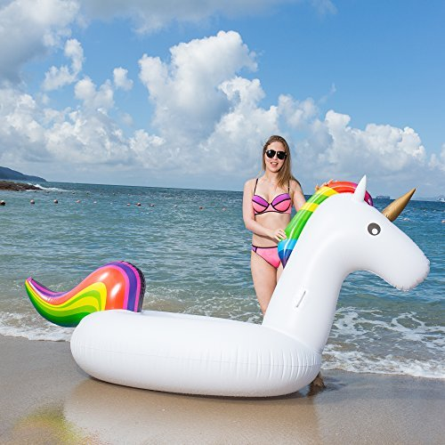 JOJO MALL Giant Unicorn Swimming Pool Float 8' Inflatable Raft for Kids and Adults Holds Up to 400lbs Inflates and Deflates Fast Premium Quality Toy, iver Tube, Oceans And Lakes