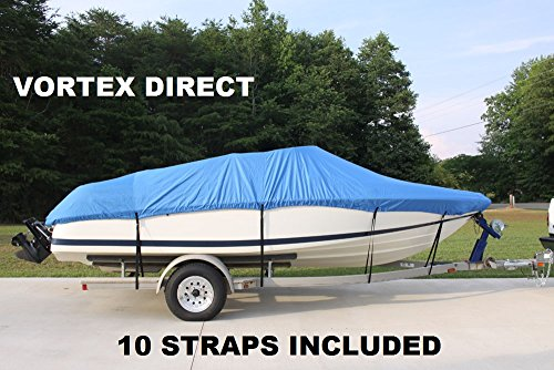 """NEW VORTEX HEAVY DUTY 26 FT *BLUE* VHULL FISH SKI RUNABOUT COVER FOR 24'1"""" TO 25 to 26 FT BOAT, BEST AVAILABLE COVER, UP TO 108"""" BEAM (FAST SHIPPING - 1 TO 4 BUSINESS DAY DELIVERY)"""
