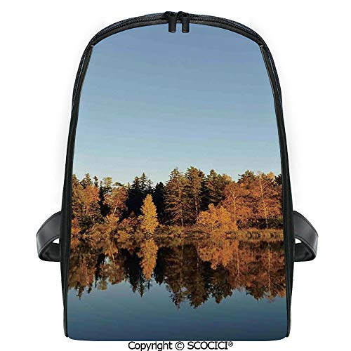 SCOCICI Primary School Student Book Bag Photo of Autumn Forest and Silhouette of the Trees over the Lake Peace Nature Art for Girls/Boys Back To School Gift ()