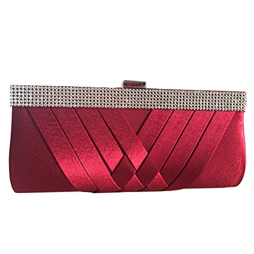 (HOZMLIFE Luxury Satin Evening Bag Clutch Women Rhinestone Evening Bag Party Purse Wedding Handbag Shoulder with Chain Strap)