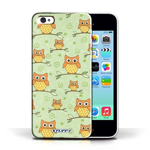iCHOOSE Print Motif Coque de protection Case / Plastique manchon de telephone Coque pour Apple iPhone 5C / Collection Motif Hibou / Orange/Vert