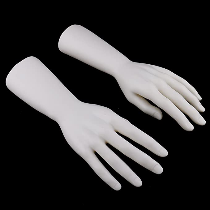 Dovewill 1 Pair 12 inch Male Right Left Mannequin Hand Jewelry Bracelet Gloves Ring Display Stand Organizer Holder Rack Black White Skin Color Black