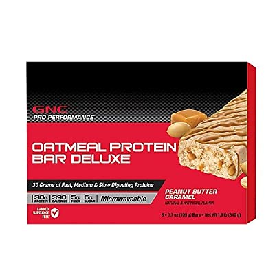 GNC Pro Performance Oatmeal Protein Bar Deluxe Peanut Butter Caramel 8 bars