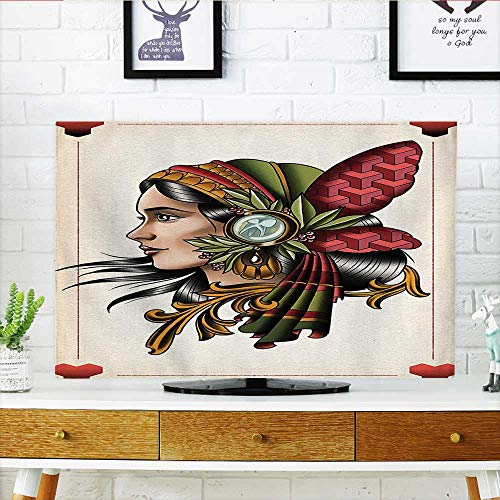 Leighhome Front Flip Top Art Deck Card Games Female Lady with Native on Head Boho Graphic Front Flip Top W19 x H30 INCH/TV 32