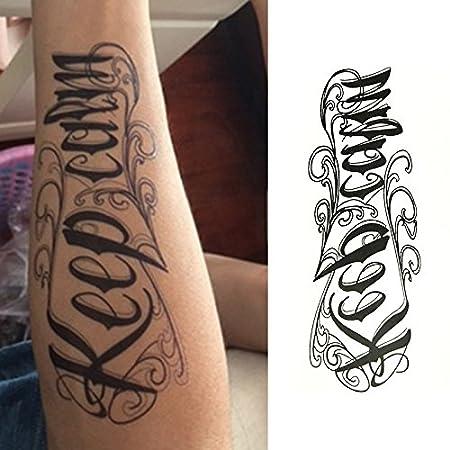Oottati Tatuajes Temporales Muslo Brazo Inglés letras A Mantener ...