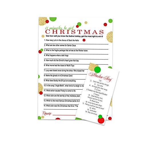 Christmas Party Game Holiday Trivia Card (25 Pack) Red Green and Gold (Trivia On Christmas)