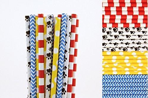 Paw Print Paper Straws Mix - Red Stripe, Yellow Polka Dots, Blue Chevron (25) ()