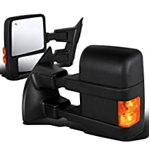 Ford Super Duty Pair of Power+Heated+Turn Signal Light Manual Extended Arm Manual Folding Towing Side Mirror