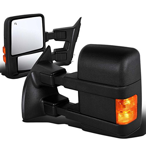 For Ford F-Series Super Duty Pair of Black Powered + Heated Glass + Signal + Manual Extenable Side Towing Mirrors