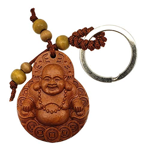 Feng Shui Peach Wood Money Buddha (Laughing Buddha) Key Ring for Wealth Luck with Betterdecorpounch]()