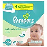 Pampers Natural Clean Unscented Water Baby Wipes 7X Refill Packs, 504 Count