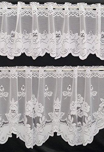 Bowatex Scheibengardine Bistrogardine Blumen Wei/ß 30//50x150cm Kurzgardine Spitze im Set Fa Design 311
