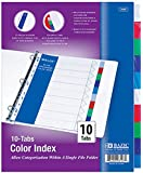 BAZIC 3-Ring Binder Dividers w/ 10 Color Tabs for School, Home, or Office