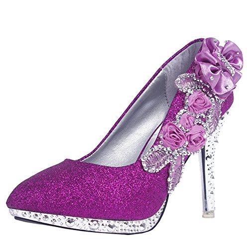 cd6db85745d27 durable service Getmorebeauty Women s Purple Lace Flower Crystal Stiletto  Platform Dress Shoes