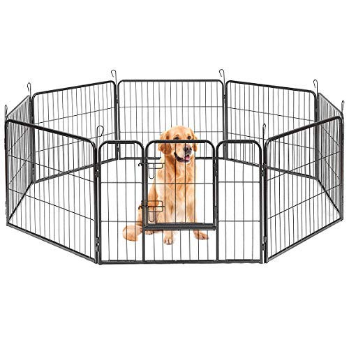 Giantex 8 Panel Pet Dog Playpen, Heavy Duty Safety Gate with Foldable Panels and Double Door Locks for Indoor Outdoor, Dog Exercise Pen, 2019 (32''H)