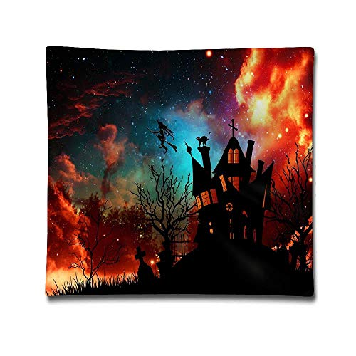 Jidmerrnm Halloween Witch House Starry Sky Cotton Linen Throw Pillow Cover Shell for Couch Sofa Home Decoration 18 X 18 Inches -