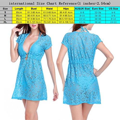 Zhhlinyuan 4 Color Fashion Hollow Lace Beach Dress Summer Women Short Sleeves Sundress White