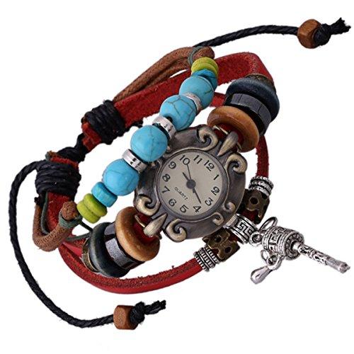 Deskmate Desk - Handmade Leather Watch Bracelet,Punk Style Individuality Bracelet For Men Women Boy Girl Dress Bangle,Good Gift for Classmate Desk-mate Valentine's Day Birthday Xmas Party By Codear