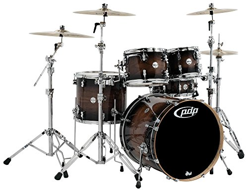 Pacific by DW 5-Piece Concept Maple Exotic Shell Pack (Charcoal Burst over Walnut) ()