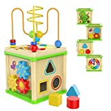 TOP BRIGHT Wooden Activity Cube - 1 Year Old Shape Shorter Bead Maze