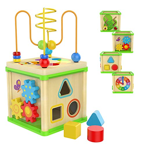 TOP BRIGHT Wooden Activity Cube - 1 Year Old Shape Shorter Bead Maze Toy Educational Baby Gifts for One Year Old Boys and Girls Small Size (Best Activities For 18 Month Old)
