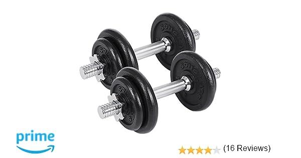 SONGMICS Juego de 2 Mancuernas de Fitness Pesas Hombres Discos de Hierro Fundido 20kg SYL20T: Amazon.es: Deportes y aire libre