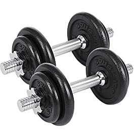 SONGMICS Dumbbell Weight Set Cast Iron 20KG 30KG 40KG 50KG 6...