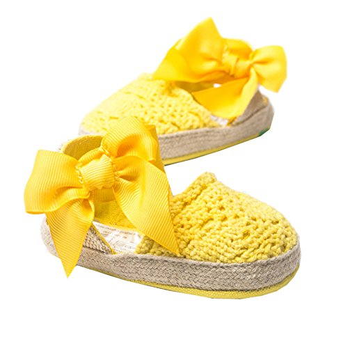LeapFrog Neugeborenes Baby-H?kelarbeit weichbesohlte Bow Prewalker Sandalen Kleinkind Schuhe Gelb