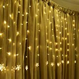 TOFU Star Curtain Light, Window Decoration 6.6 ft 100 LED with 8 Modes Remote Indoor/Outdoor Waterproof Lighting Garland, Light Garlands, Christmas, Wedding, Home, Patio, UL Certification