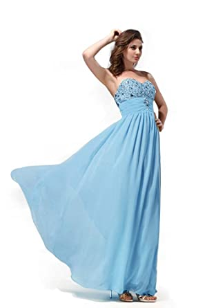 HotQueen Hot Queen Womens Sweetheart Rhinestones Sleeveless Chiffon Long Prom Dresses 2015 Size 6 UK Blue