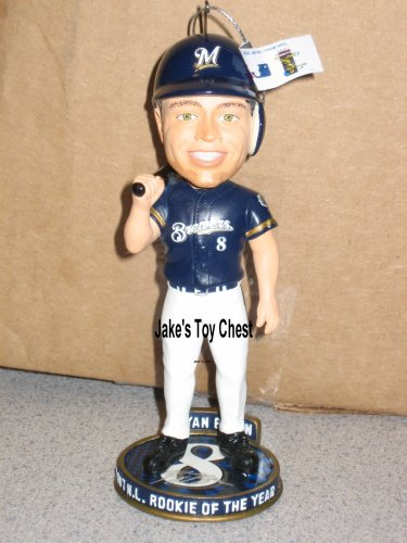 (Forever Collectibles Ryan Braun Bobblehead Ornament Milwaukee Brewers Only 504 produced Individually numbered )