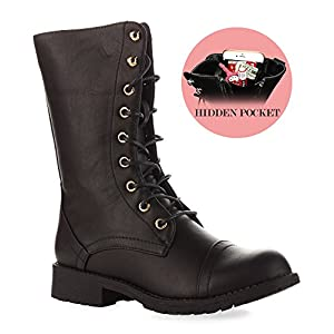 RF ROOM OF FASHION Trudy-21 Boots (Black PU Size 10)