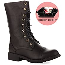 RF ROOM OF FASHION Women's Ankle To Mid Calf Lug Sole Stacked Heel Combat Military Motorcycle Booties Boots – With Exclusive Hidden Pocket