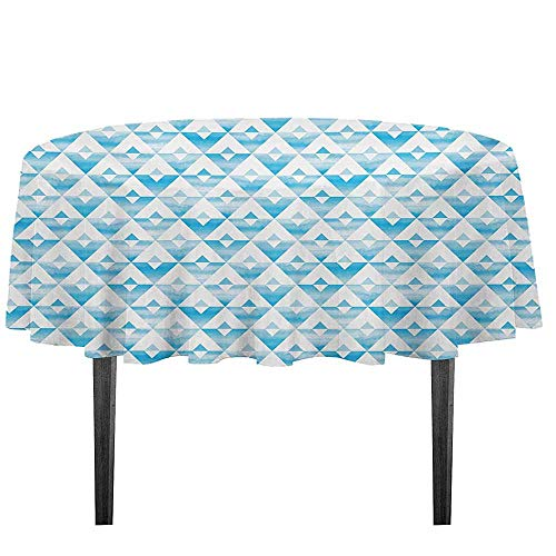 kangkaishi Modern Printed Tablecloth Geometric Contemporary Shapes Triangle Line with Clear Cloud Backdrop Image Desktop Protection pad D35.4 Inch Pale and Baby Blue ()