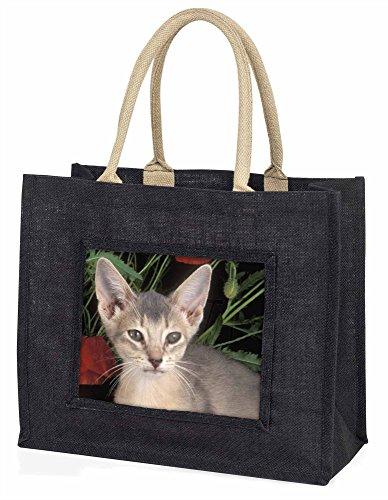 Advanta Face of a blau Abessinier Cat Große Einkaufstasche/Weihnachtsgeschenk, Jute, schwarz, 42x 34,5x 2cm