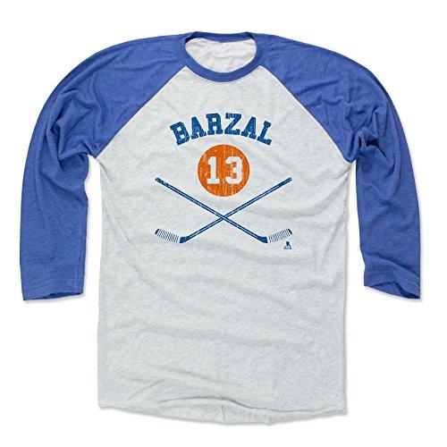 500 LEVEL Mathew Barzal Baseball Shirt Large Royal/Ash - New York Hockey Fan Apparel - Mathew Barzal New York I Sticks B