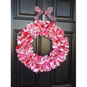 Valentines Day Rag Tie Round Wreath 10