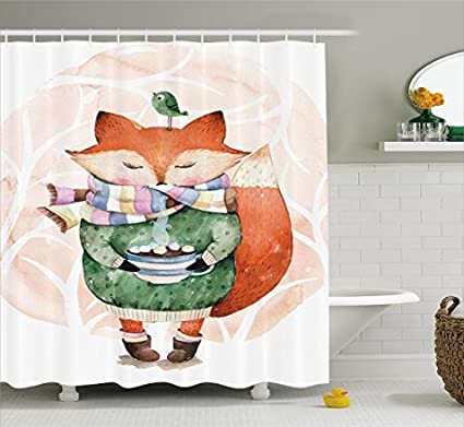 Fox Shower Curtain Hooks Bird Curtains Cute Little With Scarf And