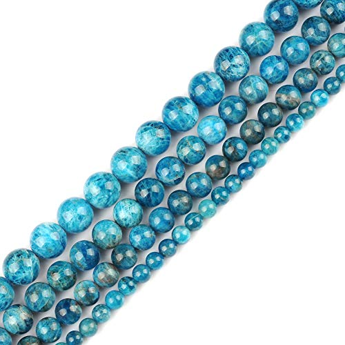 - Genuine Natural Real Smooth Round Ocean Apatite Gemstone Beads Loose Beads for Jewelry Making Approxi 15.5