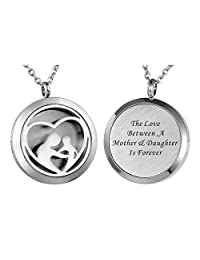HooAMI Aromatherapy Essential Oil Diffuser Necklace Pendant Locket Jewelry , Engraved Personalized Words