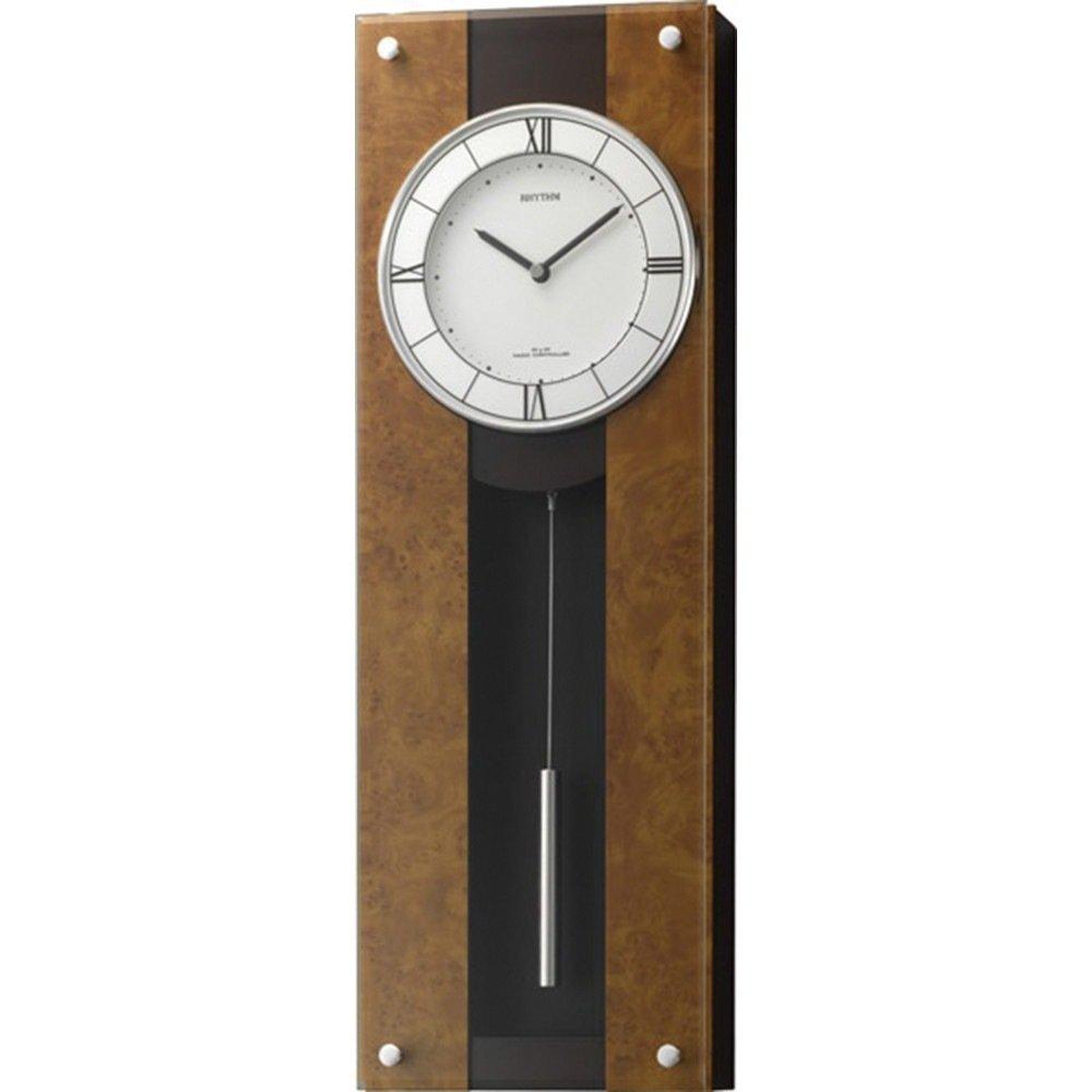 名入れプレート付き 電波_掛け時計 モダンライフM01 名入れプレート付 き 茶色半艶仕上(白) 4MXA01RH06 B075KQKNPR