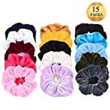 15 Pack Hair Scrunchies Whaline Bobbles Elastic Velvet Colorful Scrunchy Hair Bands Ties, 15 Colors