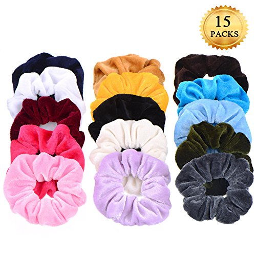 15 Pack Hair Scrunchies Whaline Bobbles Elastic Velvet Colorful Scrunchy Hair Bands Ties, 15 Colors by Whaline