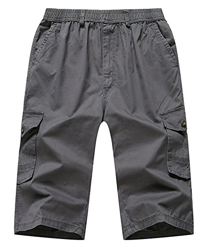 FRTCV Men's Lightweight Cargo Shorts Elastic Waist Flat Front Short US 34/Asian 4XL Dark (Climbing Lightweight Shorts)