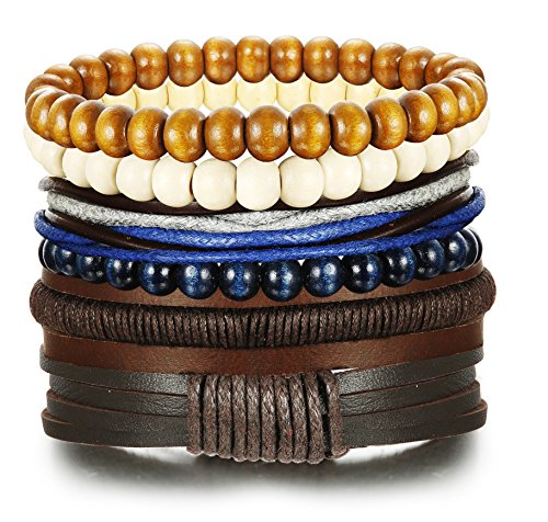 LOYALLOOK 6pcs Vintage Leather Cuff Bracelets With Wooden Beaded Bracelets for Men Women 7-8.5inches Adjustable