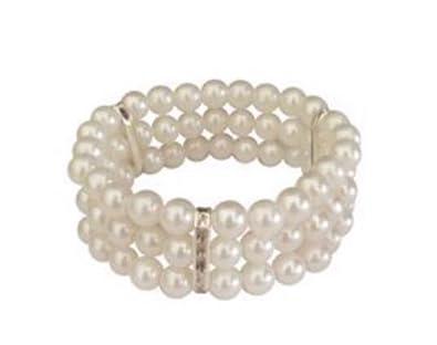 Faux Pearl Elasticated Classic Cuff Bracelet sPpJ77L3yJ